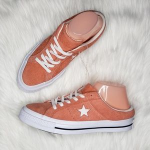 Converse One Star Suede Mule in Rush Coral NWOB